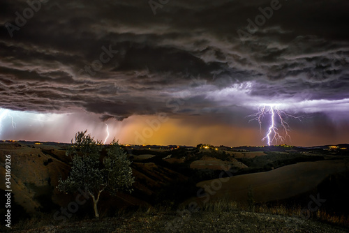 Photo Panoramic View Of Storm Clouds Over Landscape During Sunset