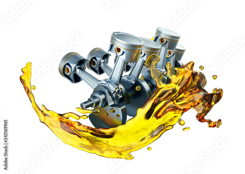 Fototapeta 3D illustration of parts in car engine with lubricant oil on repairing
