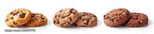 фотография Fresh chocolate chip cookies isolated on white