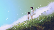Waiting For You In A Beautiful Place. Woman And Her Child Standing On The Meadow Looking Forward At The Horizon, Digital Art Style, Illustration Painting