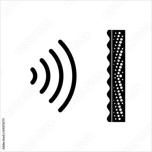 Vászonkép Soundproof Icon, Reducing The Sound Pressure Between Source And Receptor