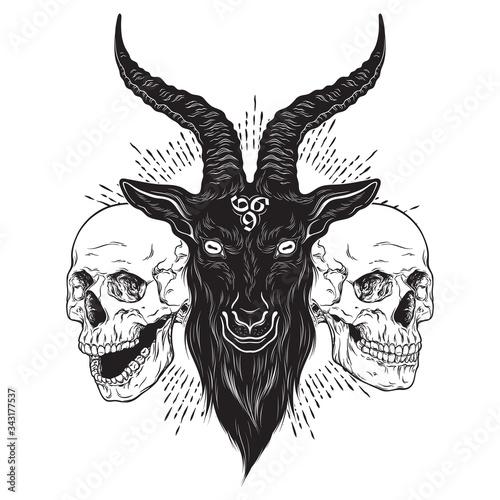 Fototapeta Baphomet demon goat head and human skulls hand drawn print or blackwork flash tattoo art design vector illustration