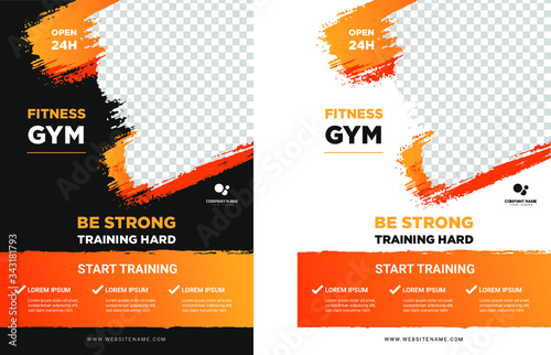 Obraz GYM / Fitness Flyer template with grunge shapes. vector - fototapety do salonu