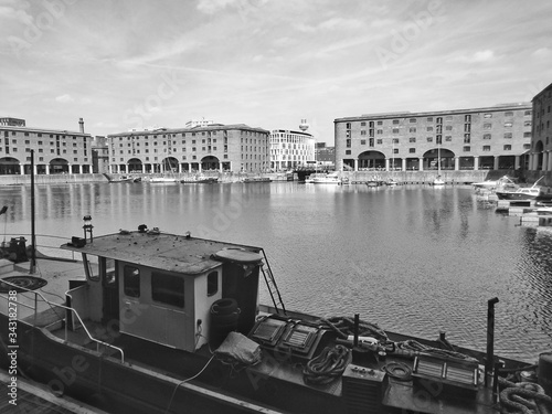 High Angle View Of Boat Moored At Albert Dock Canvas Print