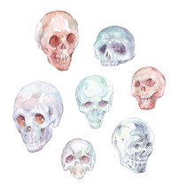 Set Of Skulls Isolated On White