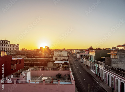 Old town at sunrise, elevated view, Cienfuegos, Cienfuegos Province, Cuba Wallpaper Mural