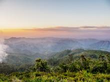 Landscape Seen From La Gran Piedra At Sunset, Santiago De Cuba Province, Cuba