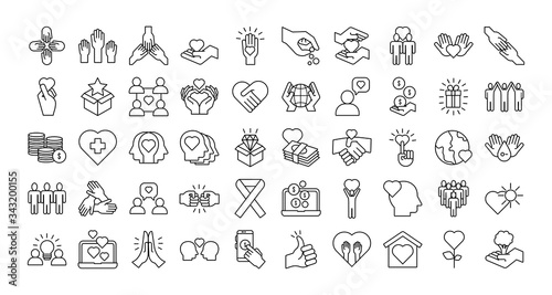 Fotografia bundle of charity and solidarity icons