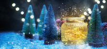 Christmas Lighting In The Jar, Christmas And New Year Holidays Background, Winter Season.