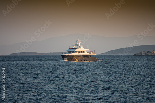 leasure boat in the Adriatic Sea on the background of the islands, Croatia Fototapet