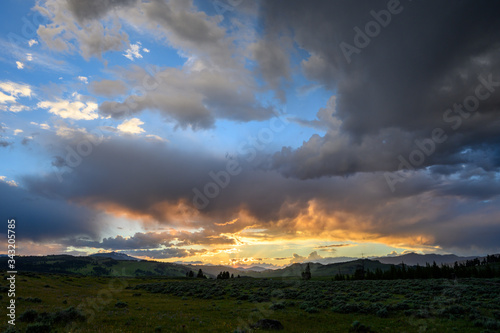 Sunset Highlights Low Clouds in Storm Over Yellowstone
