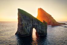 Drangarnir Rocks During Sunset...