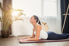 Sporty Caucasian Woman Practicing Yoga, Lying On The Floor In Cobra Pose, Going To Do Bhujangasana Exercise, Female In Sportswear, Leggings And Bra Working Out At Home Isolated In Light Room