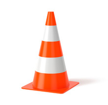 Traffic Cone Isolated On White 3d Rendering