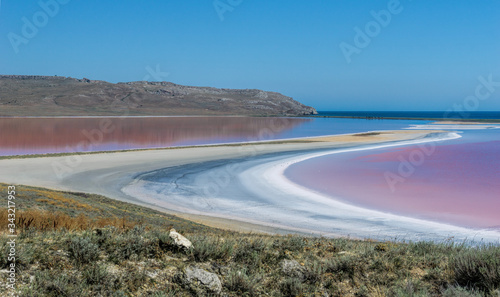Brine and salt of a pink lake Koyash colored by microalgae Dunaliella salina, famous for its antioxidant properties, enriching water by beta-carotene, used in medicine and spa Tapéta, Fotótapéta