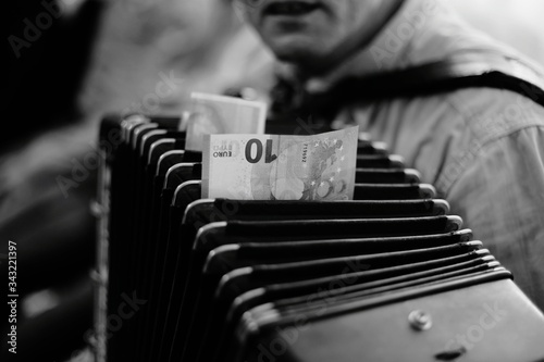 Close-up Of Man Playing Accordion Canvas Print
