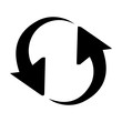 Rotation thin reload, line sharp sign icon / arrow, recycle, rotation illustration black icon