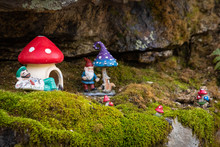 Toy Dwarf Magical Mushroom House In The Forest