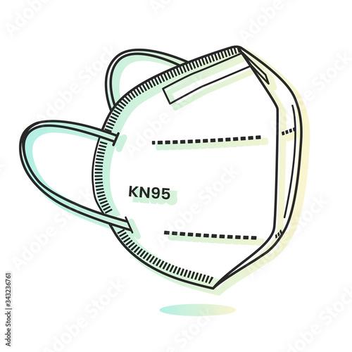 Obraz Respiratory Protective Mask - KN95 - Icon - fototapety do salonu