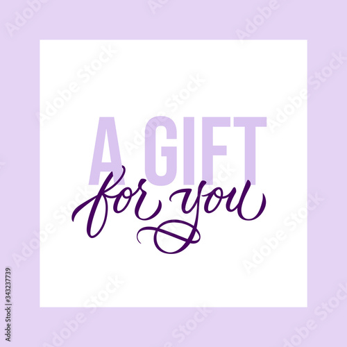 A gift for you - modern gift card template with calligraphic inscription and font Canvas Print