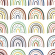seamless pattern with multicolor pastel rainbows - vector illustration, eps