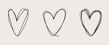 Set Of Unique Hand Drawn Heart...