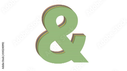 Photo 3D SPECIAL MARK OF 4 COLORED FLAT BLOCK WITH WHITE BACKGROUND : & AMPERSAND