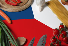 Czech Republic Flag On Fresh Vegetables And Knife Concept Wooden Table. Cooking Concept With Preparing Background Theme.