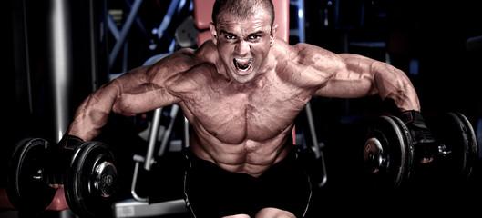 Fototapeta na wymiar Bodybuilding Workout at the Gym. Bodybuilder Lifting Weights