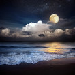 Sandy beach and moon at night