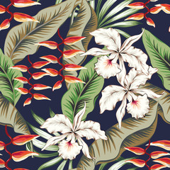 Obraz na Szkle Do sypialni Tropical orchid, heliconia flowers, green banana palm leaves, navy background. Vector seamless pattern. Jungle foliage illustration. Exotic plants. Summer beach floral design. Paradise nature