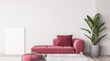 canvas print picture - Wall mock up in simple interior with red furniture, modern minimal style, 3d render
