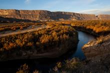 Cliffs Along Rio Grande At Sun...