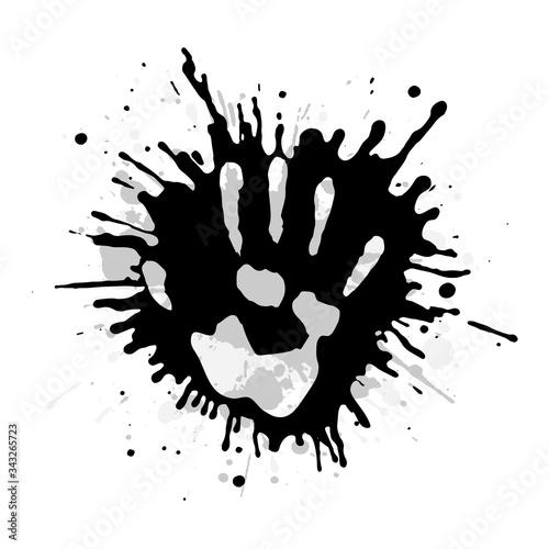 Vászonkép Handprint among splashes of paint vector illustration