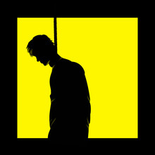 Vector Illustration Of Black Silhouette Of Hanged Man At Yellow Window Background.  View From The Outside. Suicide Concept.