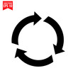 vector illustration of a recycling symbol with arrows Icon symbol Flat vector illustration for graphic and web design.
