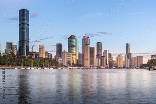 Morning light shines over the city of Brisbane.