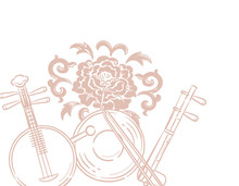 Music Themed Background With Chinese Musical Instruments And Peony Flower.