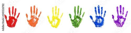 Fényképezés Hand print set in LGBTQ community rainbow flag color on white background isolate
