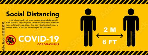 Obraz Social distancing banner. Keep the 2 meter distance. Coronovirus epidemic protective. - fototapety do salonu
