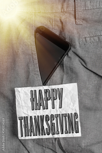 Photo Text sign showing Happy Thanksgiving