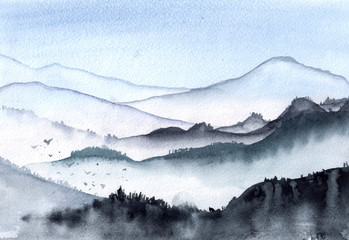 Fototapeta Góry Hand drawn watercolor mountains fog illustration