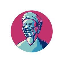 Nurse Wearing Mask And Cap Cir...