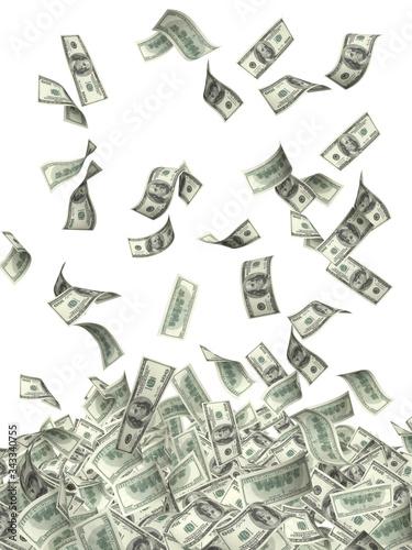 Valokuva Flying banknotes of USA dollar