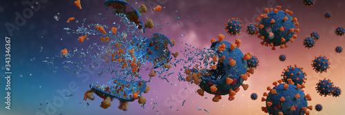 Fotografie, Obraz Coronavirus epidemic, Covid-19 viruses destroyed by soap