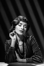 Vintage Style Brunette Woman Wearing Luxury Necklace, Black White Photo