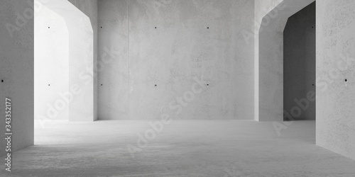 Leinwand Poster Abstract empty, modern concrete walls room with archways and indirekt light from