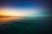 Boat In The Sea. Colorful Trop...