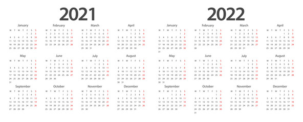 Calendar 2021, calendar 2022 week start Monday corporate design planner template.