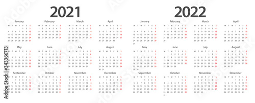 Obraz Calendar 2021, calendar 2022 week start Monday corporate design planner template. - fototapety do salonu